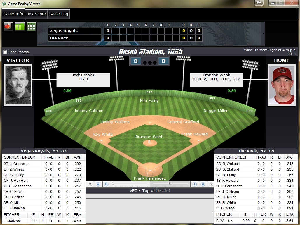 Nostalgia Sim Baseball Replay Screen